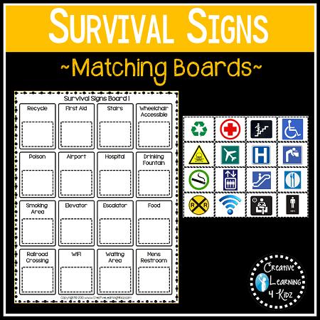 community safety survival signs symbols matching boards digital download. Black Bedroom Furniture Sets. Home Design Ideas