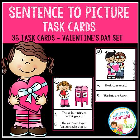 Sentence to Picture Match Task Cards Valentines Day Set Digital – Digital Valentine Card