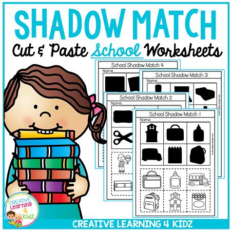 Shadow Matching Halloween Cut & Paste Worksheets ~Digital Download~
