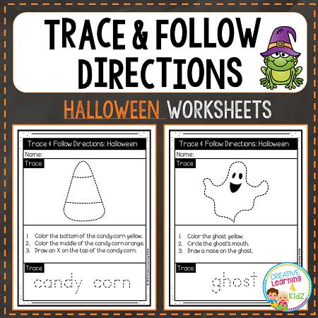 trace follow directions worksheets halloween digital download. Black Bedroom Furniture Sets. Home Design Ideas