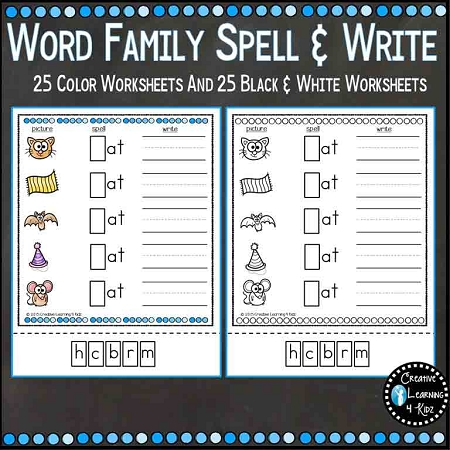 Word Family Spell & Write Worksheets 25 Word Families ~Digital ...