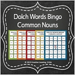 Dolch Words Bingo Common Nouns  ~Digital Download~