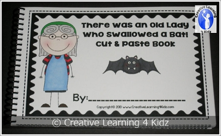 There Was An Old Lady Who Swallowed A Bat Cut Amp Paste Book Halloween Digital Download