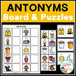 Antonyms Matching Board + Puzzle Cards  ~Digital Download~