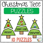 Christmas Tree Ornament Puzzles - Matching Picture to Word ~Digital Download~