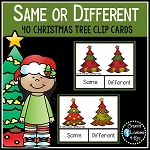 Same or Different Christmas Tree Clip Cards ~Digital Download~