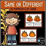Same or Different Pumpkin Clip Cards Thanksgiving Autism