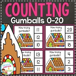 Counting Clip Cards 0-20: Gingerbread House Gumballs ~Digital Download~
