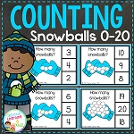 Counting Clip Cards 0-20: Snowballs  ~Digital Download~