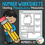 Counting & Number Worksheets 1-20: Monster Arms ~Digital Download~
