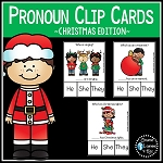 Pronoun Clip Cards: Christmas ~Digital Download~