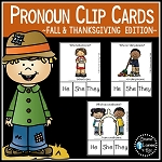 Pronoun Clip Cards: Fall Thanksgiving ~Digital Download~
