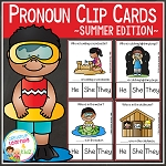 Pronoun Clip Cards: Summer ~Digital Download~