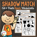 Shadow Matching Beach Cut & Paste Worksheets ~Digital Download~