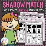 Shadow Matching Clothing Cut & Paste Worksheets ~Digital Download~