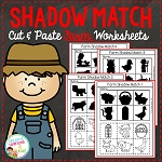 Shadow Matching Farm Cut & Paste Worksheets ~Digital Download~