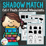 Shadow Matching School Cut & Paste Worksheets ~Digital Download~