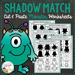 Shadow Matching Monster Cut & Paste Worksheets ~Digital Download~