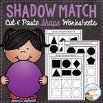 Shadow Matching Shape Cut & Paste Worksheets ~Digital Download~