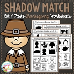 Shadow Matching Thanksgiving Cut & Paste Worksheets ~Digital Download~