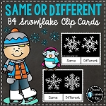 Same or Different Snowflake Clip Cards ~Digital Download~