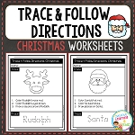 Trace & Follow Directions Worksheets: Christmas ~Digital Download~