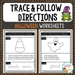Trace & Follow Directions Worksheets: Halloween ~Digital Download~