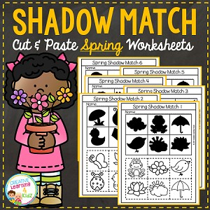 Shadow Matching Spring Cut & Paste Worksheets ~Digital Download~