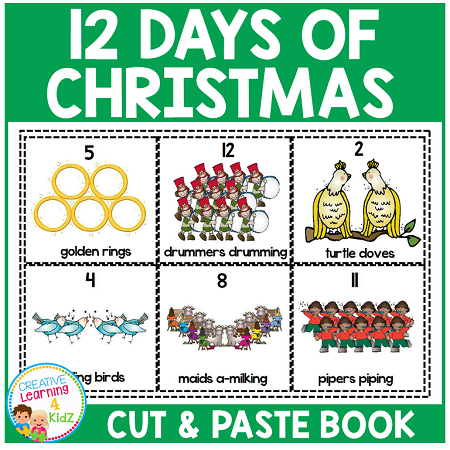 Twelve Days Of Christmas Book.Twelve Days Of Christmas Cut Paste Book Digital Download