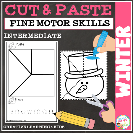 Cut And Paste Fine Motor Skills Puzzle Worksheets Winter Digital