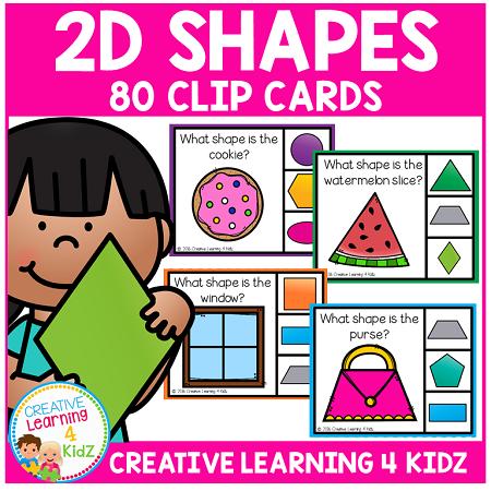 2d Shapes Clip Cards Digital Download