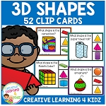 3D Shapes Clip Cards ~Digital Download~