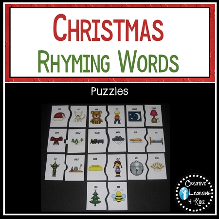 christmas rhyming words board puzzle pieces digital download