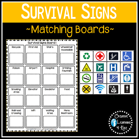 Community Safety Survival Signs Amp Symbols Matching Boards