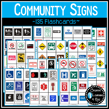 Community Safety Survival Signs Symbols 135 Cards Digital Download