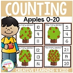 Counting Picture Clip Cards 0-20: Apple Tree ~Digital Download~