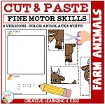 Cut and Paste Fine Motor Skills Puzzle Worksheets: Farm Animals ~Digital Download~