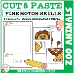 Cut and Paste Fine Motor Skills Puzzle Worksheets: Zoo Animals ~Digital Download~