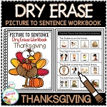 Dry Erase Picture to Sentence Workbook: Thanksgiving ~Digital Download~