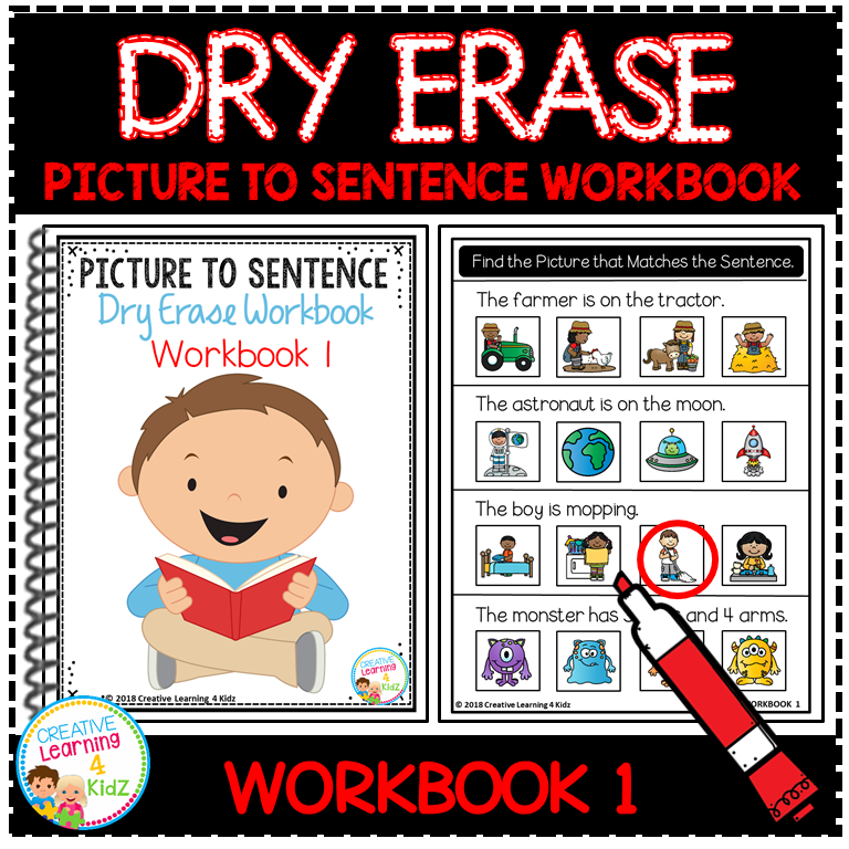 Dry Erase Picture to Sentence Workbook: Workbook 1 ~Digital Download~