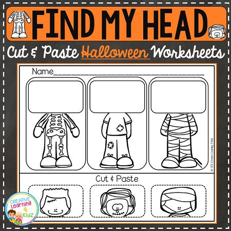 Find My Head Cut & Paste Worksheets: Halloween ~Digital Download~