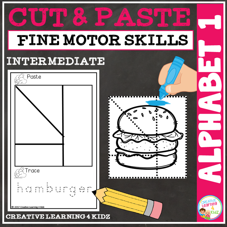 Cut And Paste Fine Motor Skills Puzzle Worksheets Alphabet 1