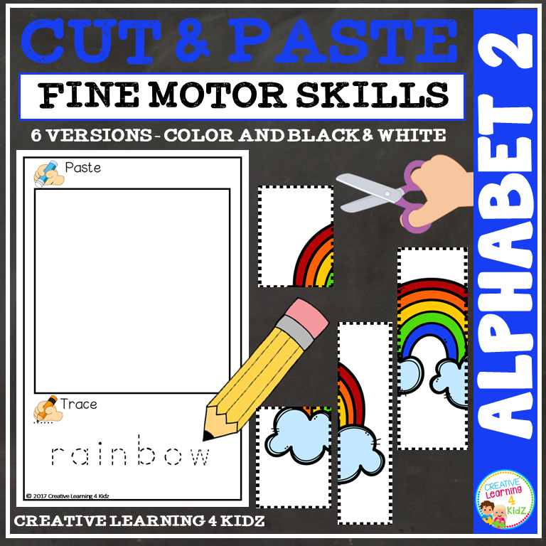 Cut And Paste Fine Motor Skills Puzzle Worksheets Alphabet 2