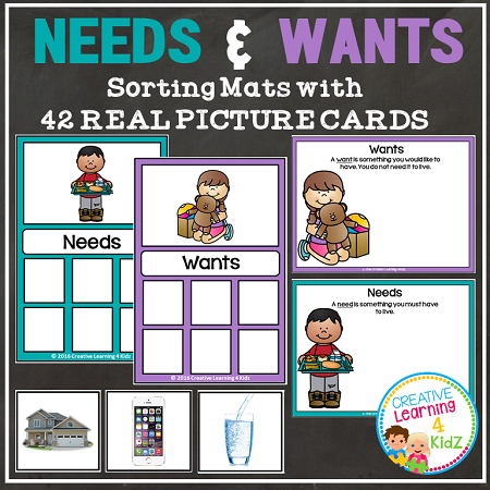 Needs And Wants Sorting Mats Digital Download