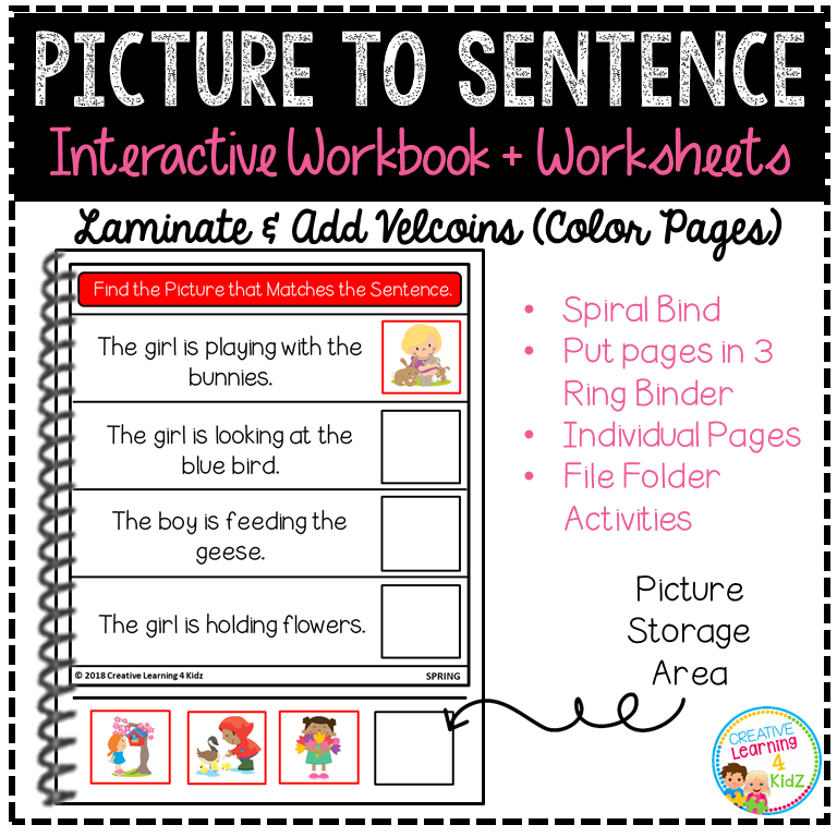 Picture to Sentence Interactive Workbook + Worksheets: Spring ...