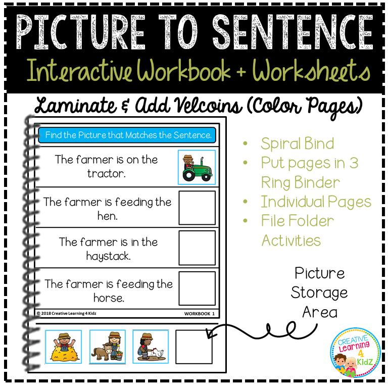 Picture to Sentence Interactive Workbook + Worksheets: Workbook 1 ...