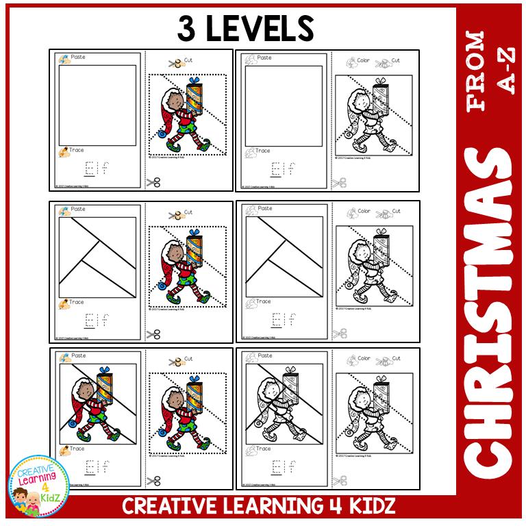 Cut And Paste Fine Motor Skills Puzzle Worksheets: Christmas Alphabet  ~Digital Download~