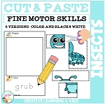 Cut and Paste Fine Motor Skills Puzzle Worksheets: Insects ~Digital Download~