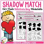 Shadow Matching Valentine's Day Cut & Paste Worksheets ~Digital Download~