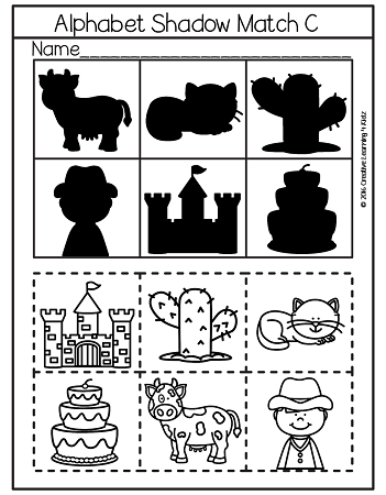 Shadow Matching Alphabet Cut & Paste Worksheets ~Digital Download~